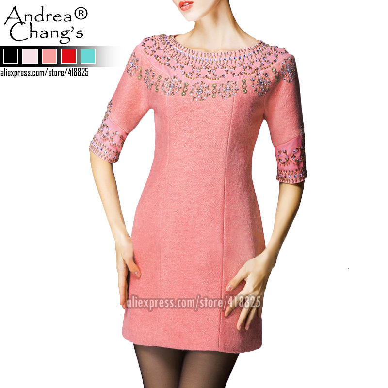 Get Quotations 2017 Autumn Winter Women S Dresses Candy Color Pattern Beading Collar Cuff Woolen Blends Half Sleeve Fashion