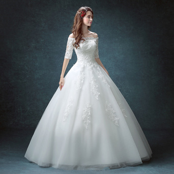 06w65 2016 Lace Ball Gown Wedding Dresses Boat Neck 3 4 Sleeve Custom Made Plus Size Princess Bridal Gowns Best Quality Buy Wedding Dress 2016 Lace