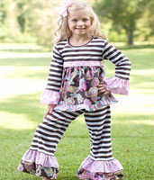 Wholesale Children Fall Boutique Outfits smocked top ruffle pants cute boutique baby girls clothing sets