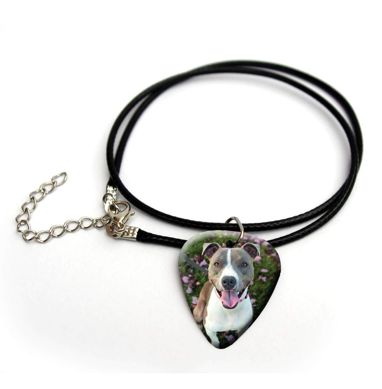 "Cute dog puppy terrier guitar pick necklace 18"" #8 Pitbull"