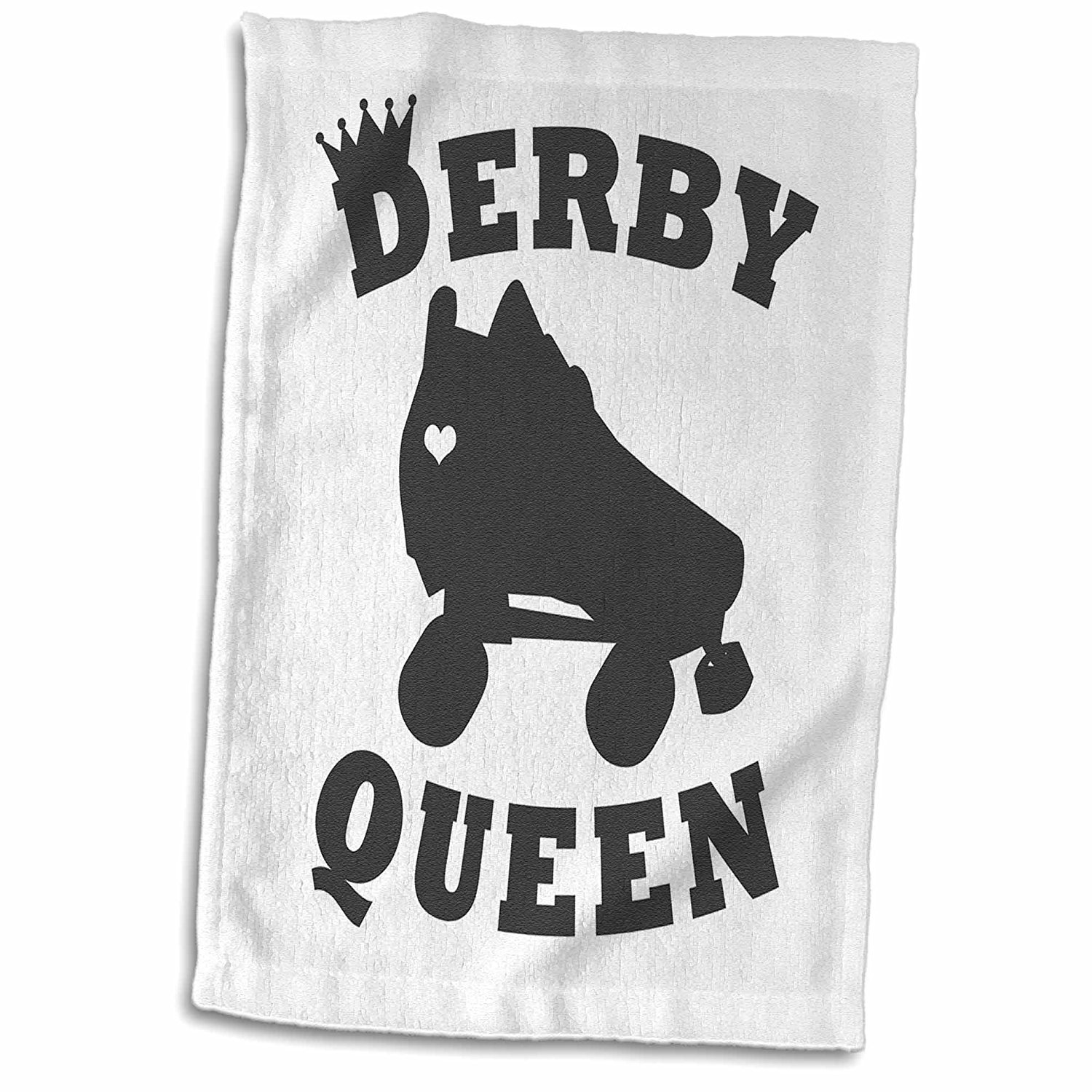 3dRose Janna Salak Designs Text Art - Roller Derby Queen - 15x22 Hand Towel (twl_261625_1)