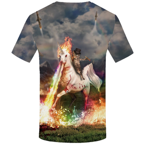 New design unicorn cat t shirts 3d short sleeve riding horse summer sublimation t-shirt for men