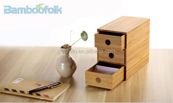 Bamboo Office Storage Box Desk Bo With Drawer Small Decorative