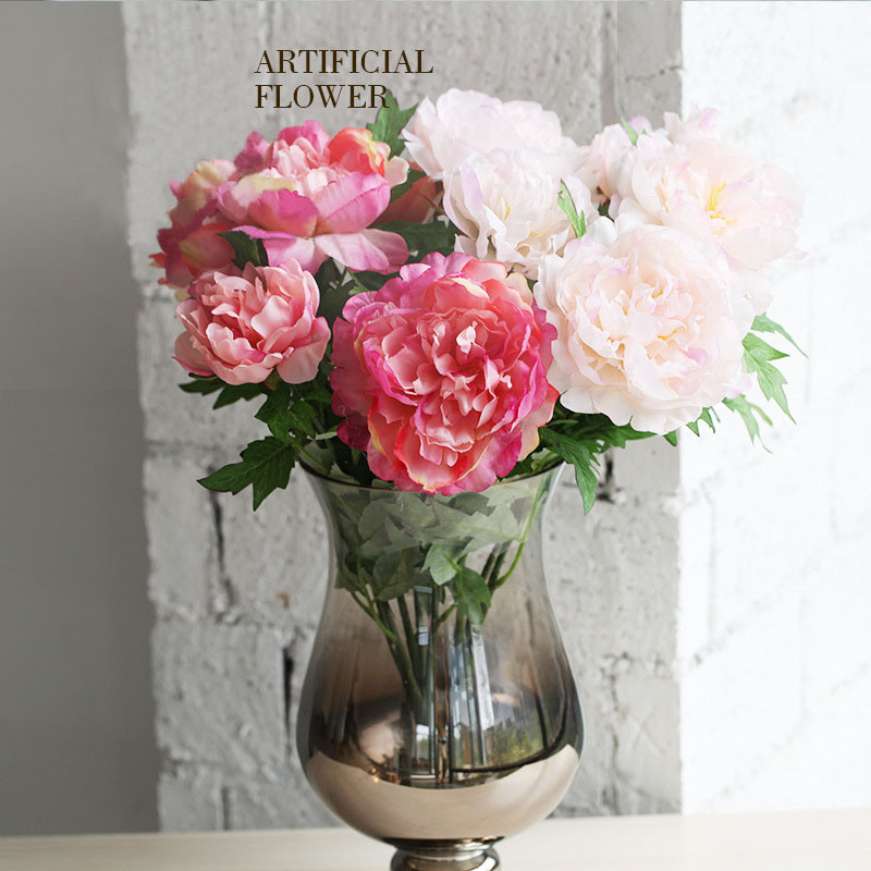 Peony Artificial Artificial Flower Bouquet Large Silk Peony Flowers Bunch Bouquet With 5big Heads In High Simulation 12 Color Buy Artificial Flower Peony Bouquet High Quality Artificial Flowers Bouquets Artificial Flower Bouquet Product