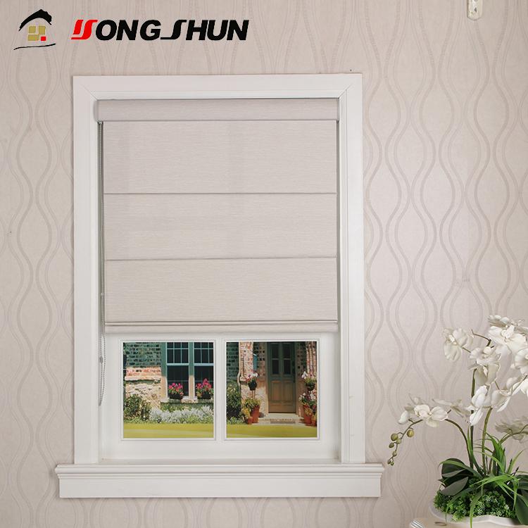 New design OEM manual chain blackout roller window blind plain fabric roman shades фото