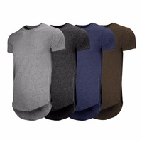 Extended with Side Zipper Crew Neck Elongated Longline Men Fashion T Shirt