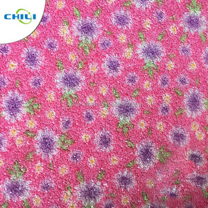 Fashion design flower printed pattern synthetic leather glitter leather