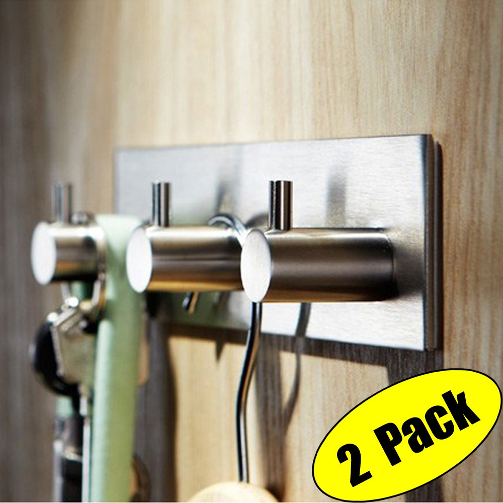 KES Self Adhesive Hooks Rail Rack Sticky Stick On Coat and Robe Key Hook SUS 304 Stainless Steel Brushed Finish 3-Hook 2-Piece, A7060H3-2-P2