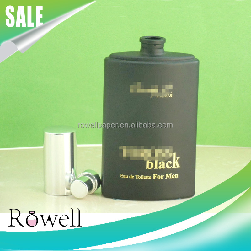 empty cosmetic packaging used 100ml matte black glass perfume bottle for men