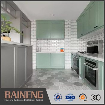 Modern Custom Two Color Kitchen Door Stainless Steel Kitchen Cabinet Designs View Kitchen Cabinet Designs Baineng Product Details From Guangdong