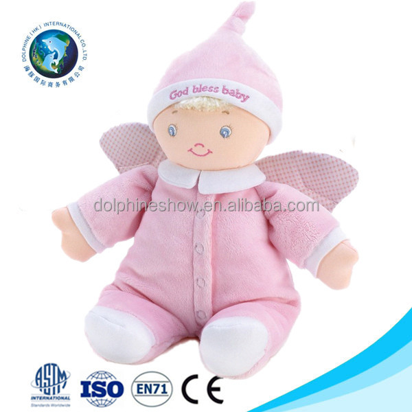 Handmade cheap stuffed soft plush rag doll for girls custom pretty pink soft toy plush baby angel doll with wings