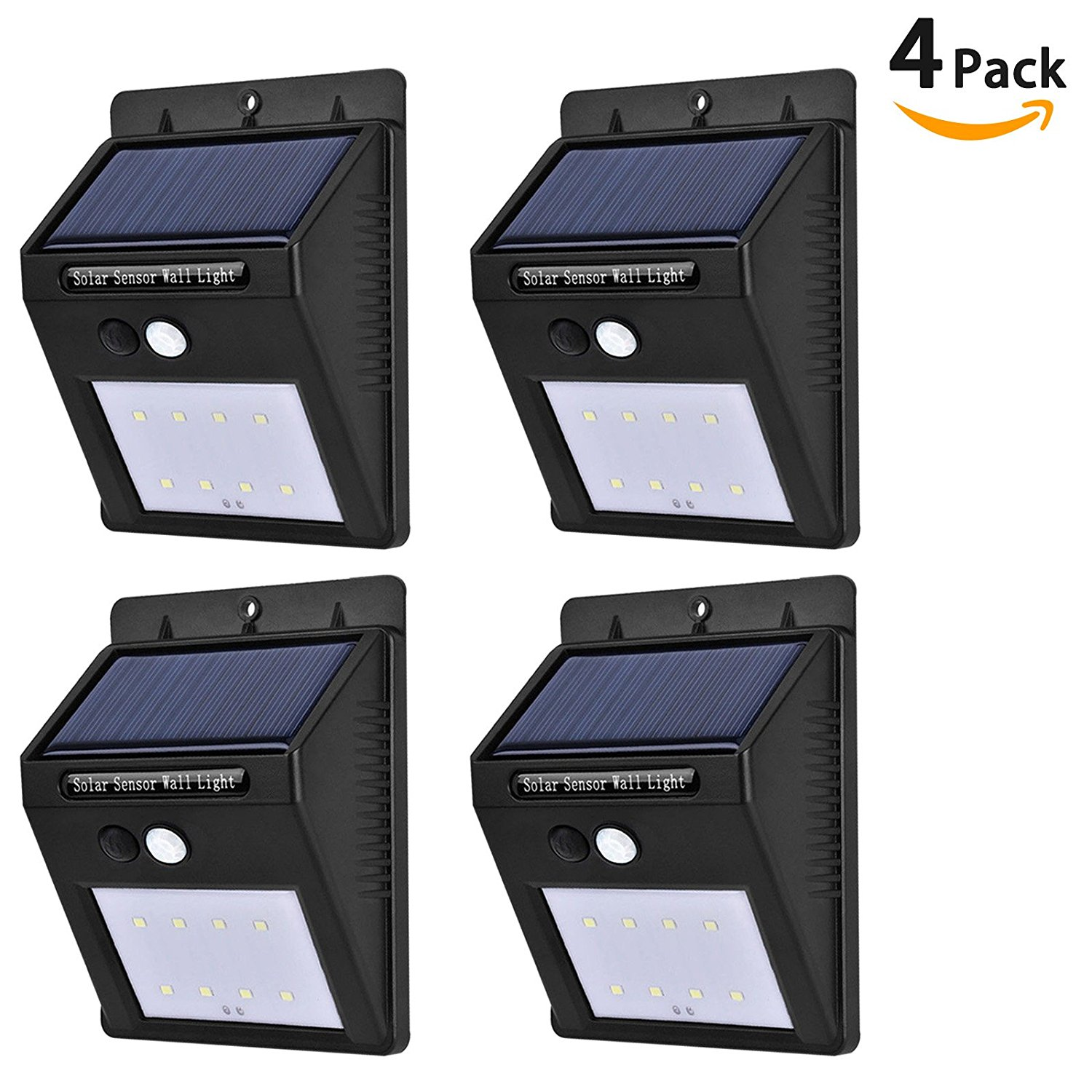 [4-Pack] Solar Powered Motion Sensor Lights, LinkStyle 8 LEDs Outdoor Solar Light Weatherproof Security Wall Light with 2 Intelligent Modes for Garden Yard Patio Deck Wall Driveway Steps- Black