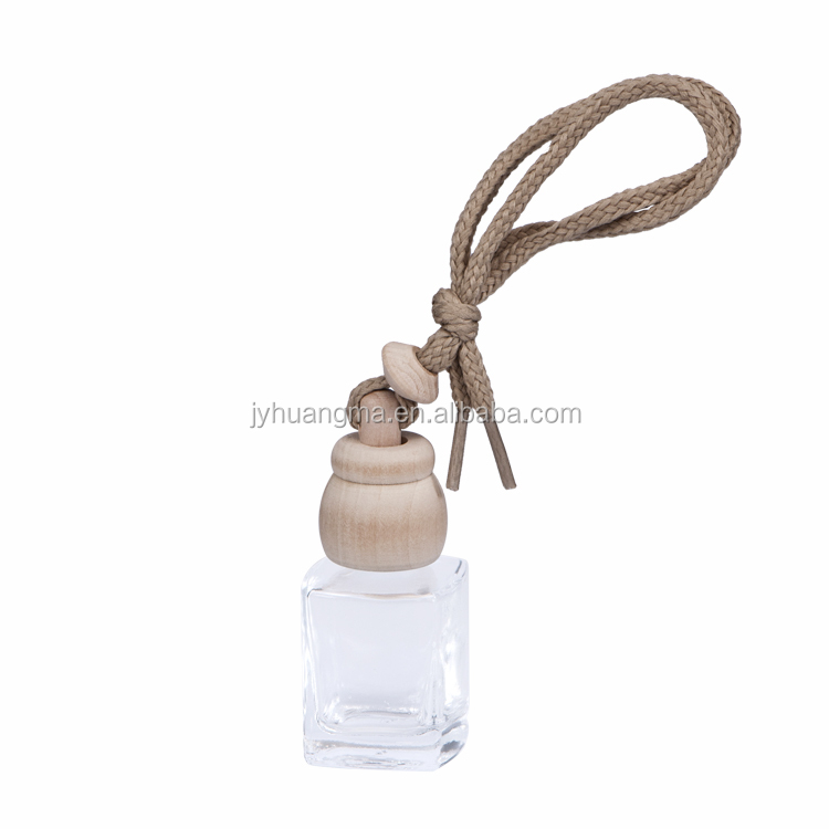 Empty 7ml hanging car air freshener perfume diffuser glass bottle with wooden cap