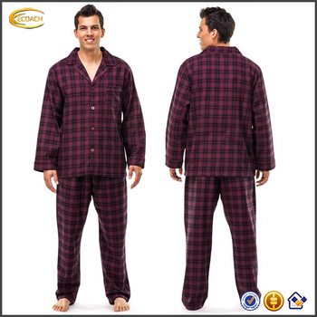d395e92537 Ecoach OEM fashion casual long sleeve 100% Cotton Flannel Pajama Sleepwear  mens pyjamas