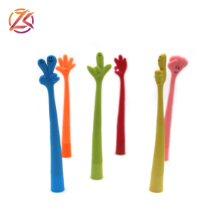 promotional gifts hand shaped rubber pen colorful silicone finger pen lovely flexible school pen