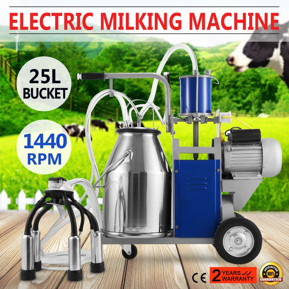 25L Electric Milking Machine For Cows W//Bucket Vacuum Pump 550W 110V 1440rmp USA