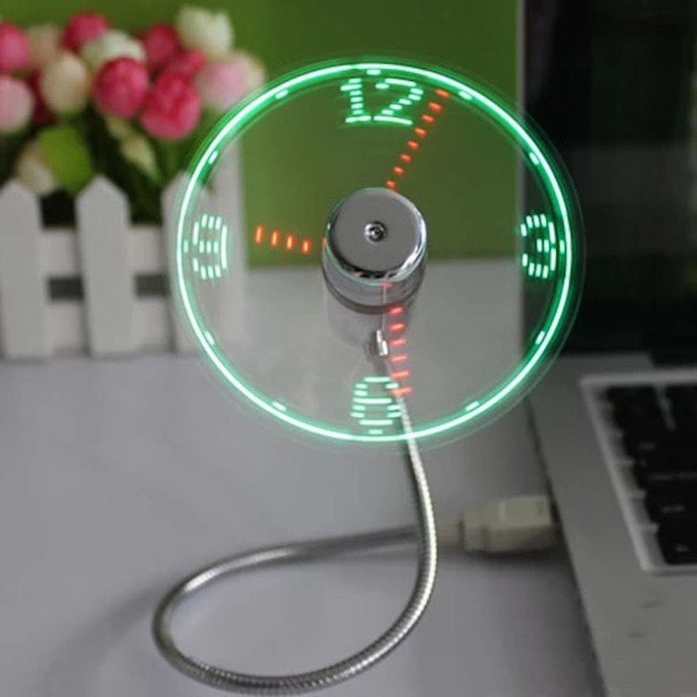 Hot selling Wholesale Durable Adjustable Cool Gadget Mini Flexible Time LED Clock USB Fan with LED Light Time Display