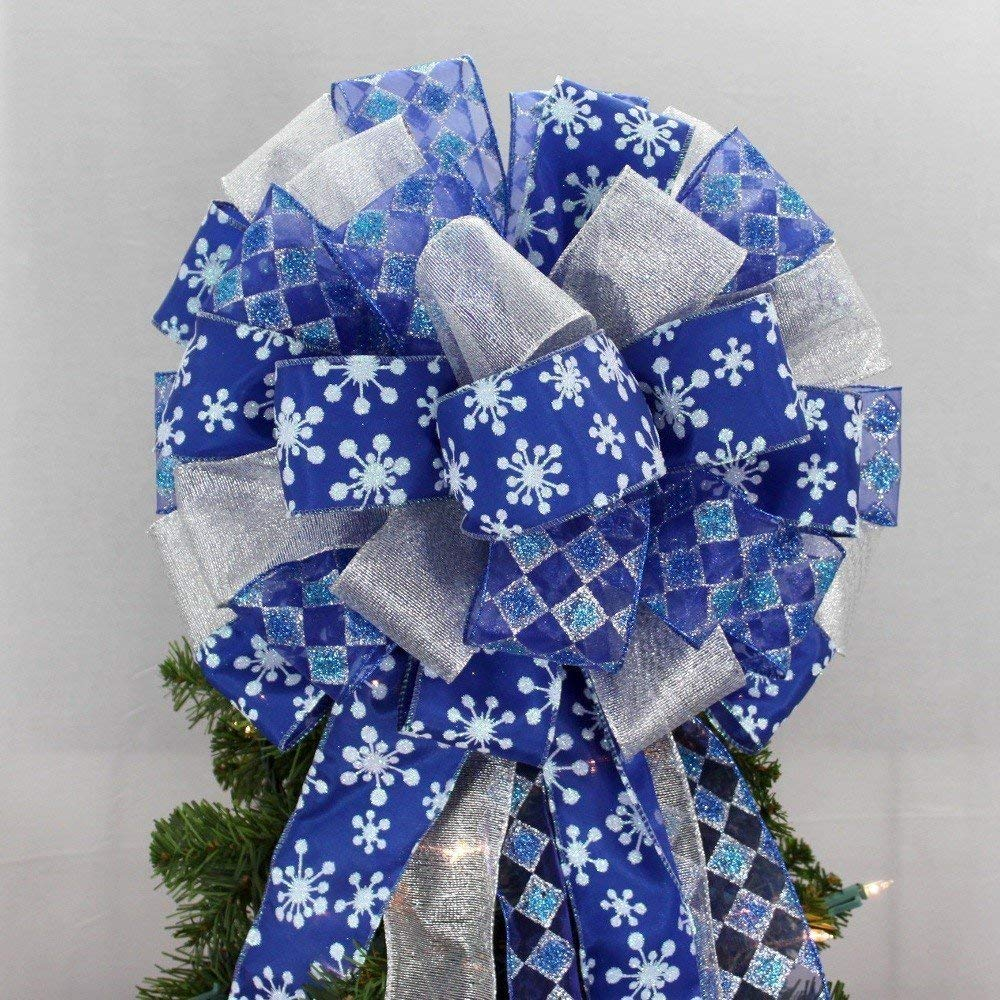 "Royal Blue Starburst Snowflake Christmas Tree Topper Bow - 13"" wide"