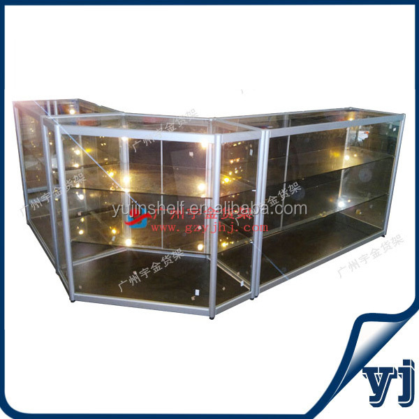 Aluminium vrijstaande glas sieraden showcase  glazen vitrinekast met led verlichting showcase