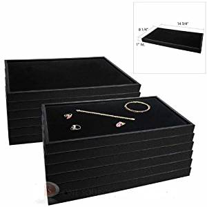 (12) Black Plastic Jewelry Display Trays w/ Black Velvet Jewelry Pad Inserts By Jbt