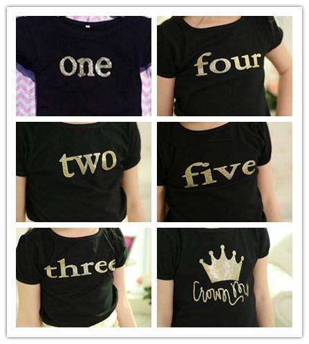 Children T Shirts White Black Sequins Baby Birthday Number T Shirt 1
