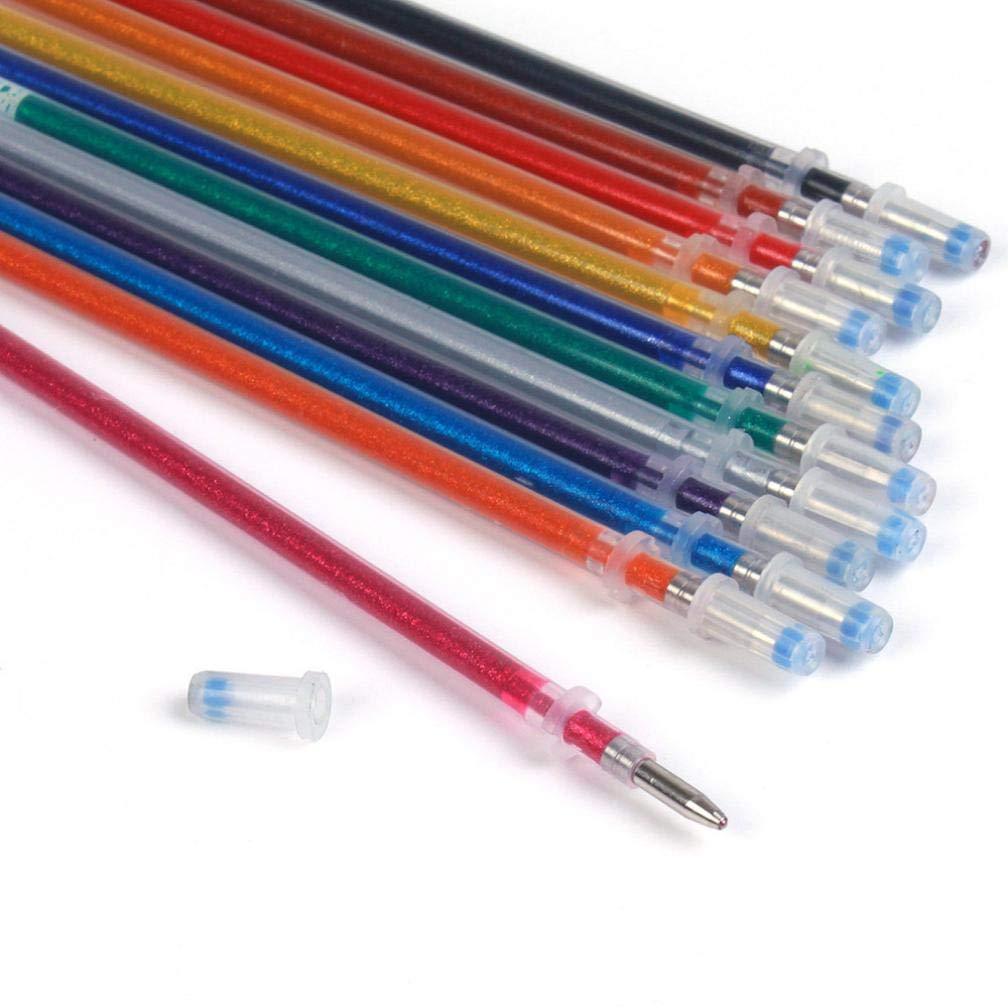 Barthylomo 60Pcs Colorful Fluorescent Pens Highlighter Glitter Gel Ink Pen Gel Refills Set for Replace