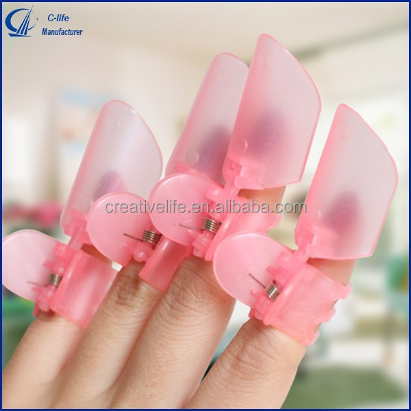 10pcs in Pink Manicure Finger Nail Art Design Tips Cover Polish Shield Protector Clip