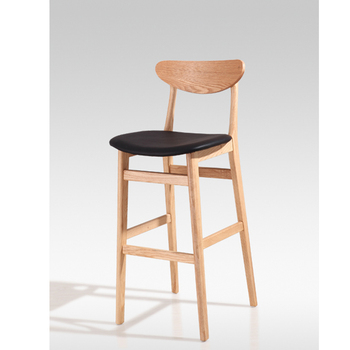Long Legged Chair Upholstered Seat Wooden Bar Chair Designs With Round