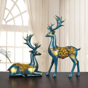 Wholesale Europe polyresin life size deer statue for home decoration