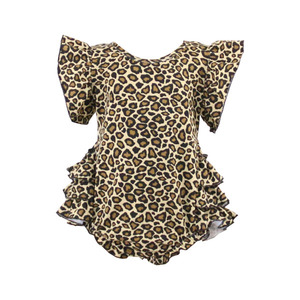 Wholesale best selling kids clothing baby romper leopard print ruffle unique baby clothes romper