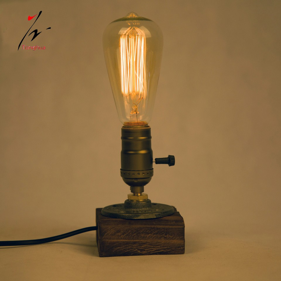 Loft Vintage E27 Holder Edison Bulb Table Lamp Wood Base Light