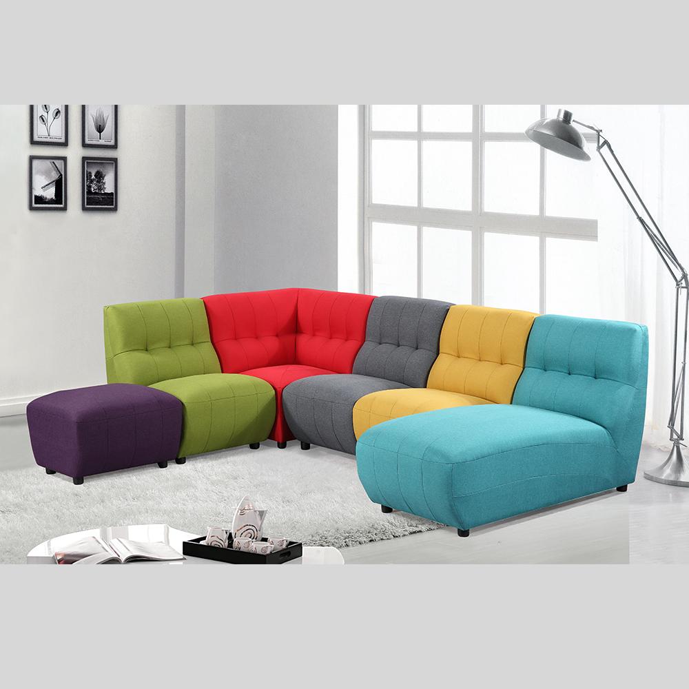 Multi Color Fabric Sofa Contrast
