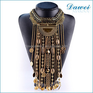tassels long pendant necklace metal coin jewelry wholesale
