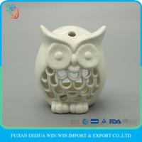 Decorative porcelain owl, white ceramic candle holder home table decor