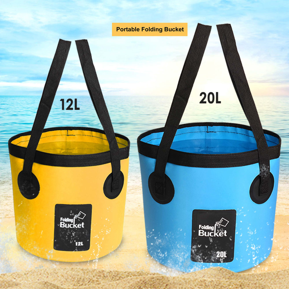 Wholesale Multifunction Outdoor 12L Camping Fishing Foldable Water Container Portable Folding Bucket