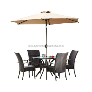 hot sales Outdoor 6 Piece Stacking Wicker Dining Set with Tempered Glass Top Concrete Dining Table