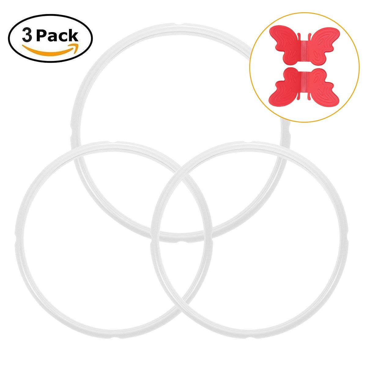 Silicone Sealing Ring Seal for Instant Pot 6 or 8 Quart Gasket Accessories Replace for Instant Pot Ring BPA-free Pack of 3 with Free Silicone Anti-scald Plate Clamp(2pcs-6qt&1pc-8 qt)