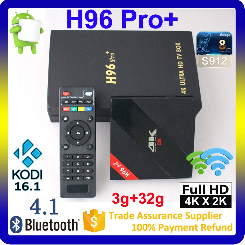 2017 H96 Pro plus 3GB RAM + 32GB ROM Amlogic S912 Octa Core Android 6.0 kodi 17.0 preinstalled 4k ott tv box