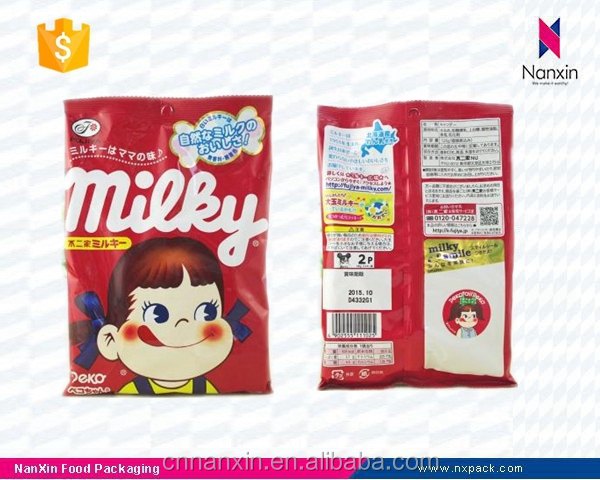 plastic cartoon design candy packaging back seal bag