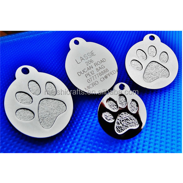 Round Paw Dog Pet ID Tags Disc Dog tag or Cat tag Engraved Custom LOGO