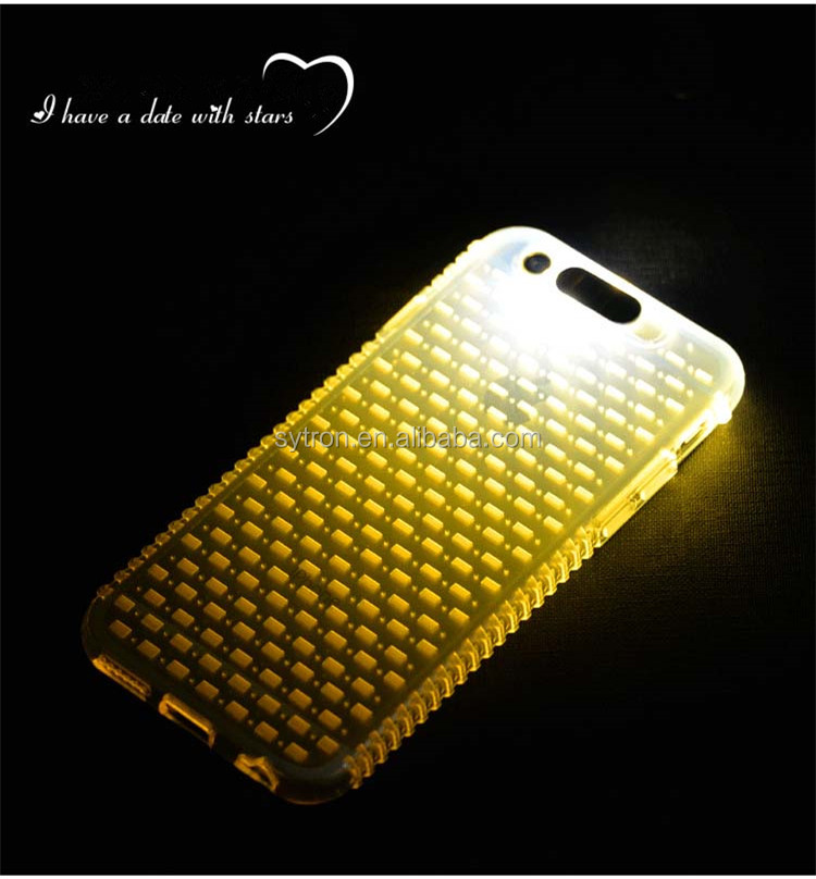 Sublimation Mobile Phone Cover Shining Led Flashing Soft TPU Case with Slider for Iphone