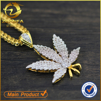 Gold Finish Simulated Diamond Sterling Silver Marijuana Leaf Pendant Weed Charm