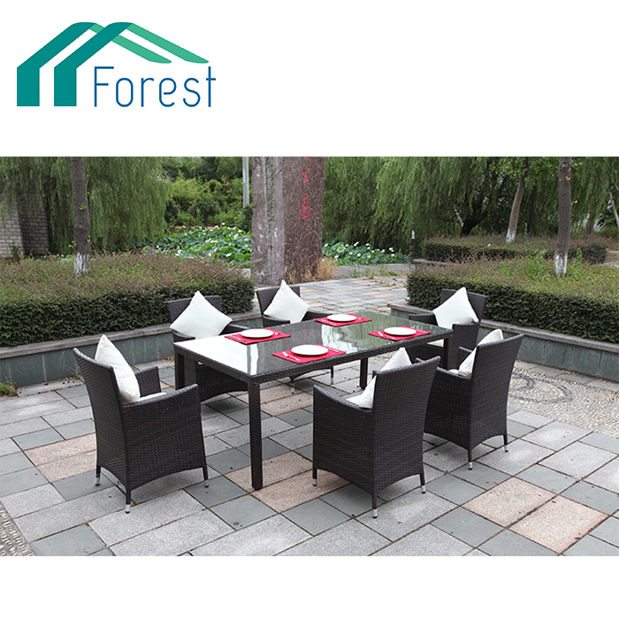 7Pcs Steel &Rattan dining set 6 chairs +1 table