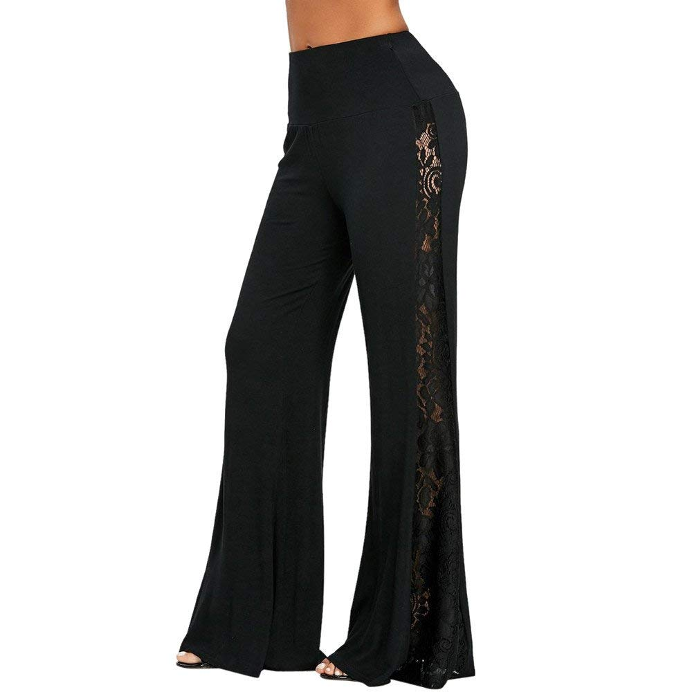 313c8d40435 Get Quotations · Hongxin Women Wide Leg Pants Plus Size Women Pants High  Waist Wide Leg Pants Lace Trim