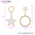 earring-177 xuping asymmetry star and circle earring, chinese wedding bridesmaid turkish 14k gold color jewellery