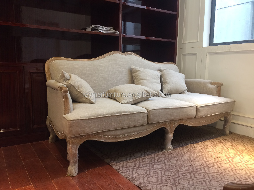 French Living Room Antique Sofa Nature Wood Country Style Sofa Wooden Beige  Sofa