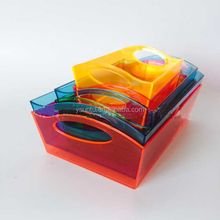 3pack palstic storage box with different colors desk table organizer