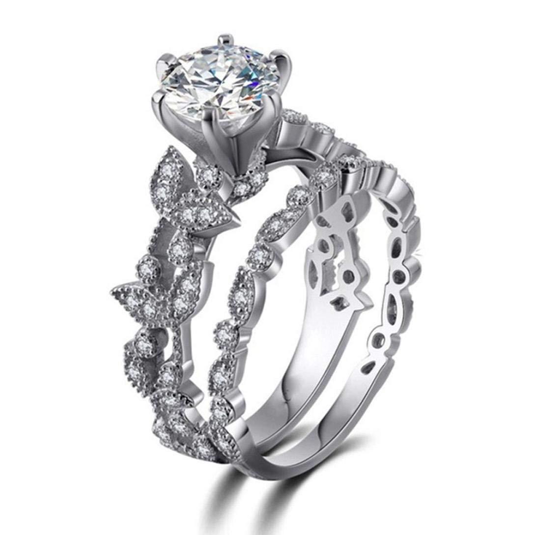 Hot Sale Rings! Daoroka Women Floral Transparent Diamond Flower Vine Leaf Rings Engagement Wedding Rings Jewelry Gift (7, Sliver)