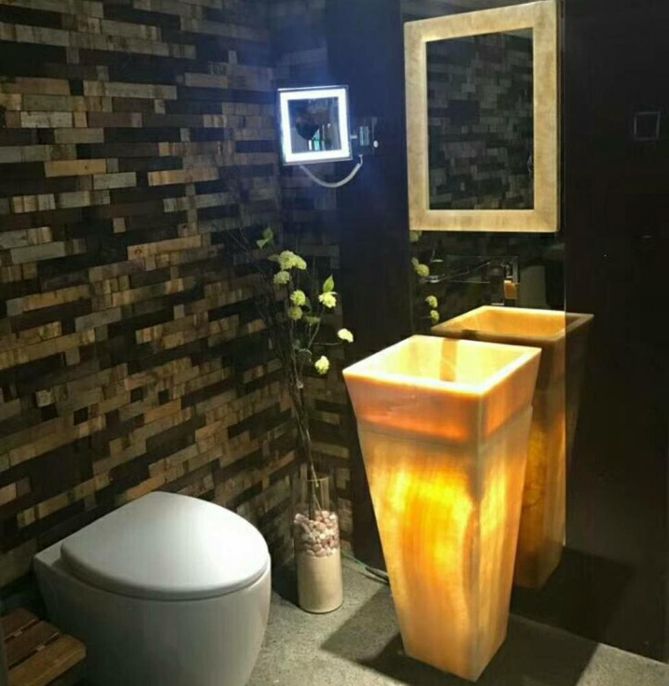 New Style China Hotel Yellow Onyx freestanding Basin natural stone bathroom pedestal basin sink