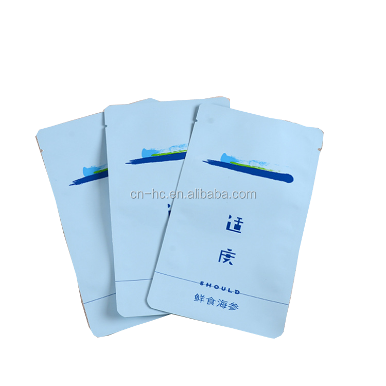 Plastic bag food packaging/ 3 side seal bag/ stand up pouch bag for meat,pork,beef,sea food